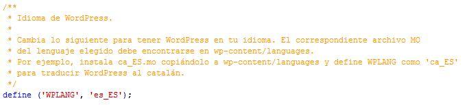 wp config idioma