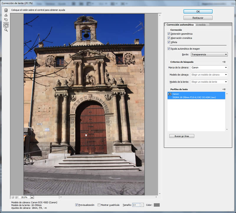 filtro correcion lente photoshop automatica
