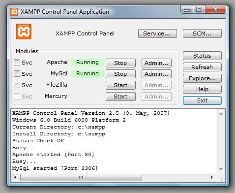 Panel Control Xampp