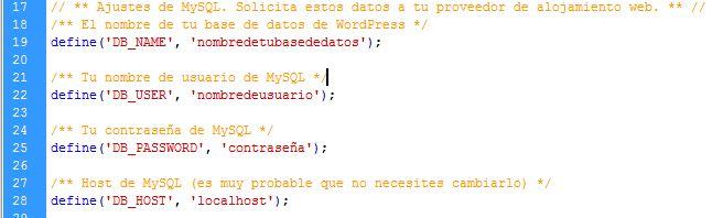 Configurar WP