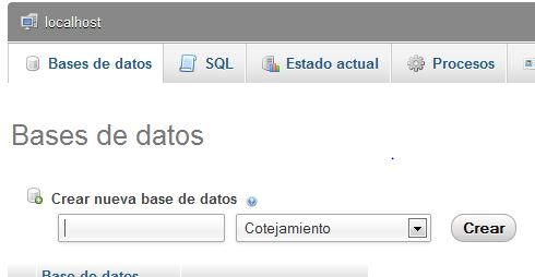 Crear base de datos: wordpress