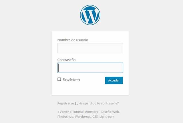 Pantalla acceso admin de WordPress