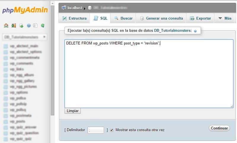 Borrando revisiones de WodPress desde phpMyAdmin