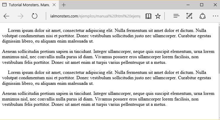Manual HTML: Ejemplo para simular un tabulador