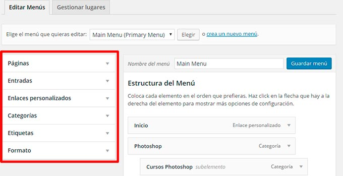 Opciones menu wordpress
