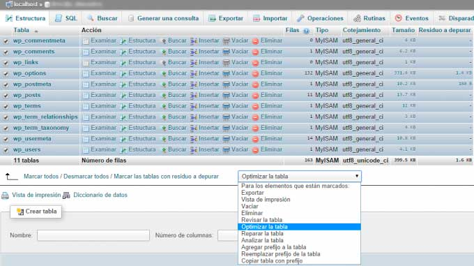 Optimizar Tabla en WordPress