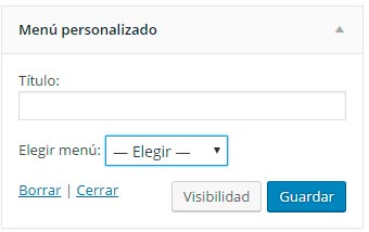Widget menu personalizado