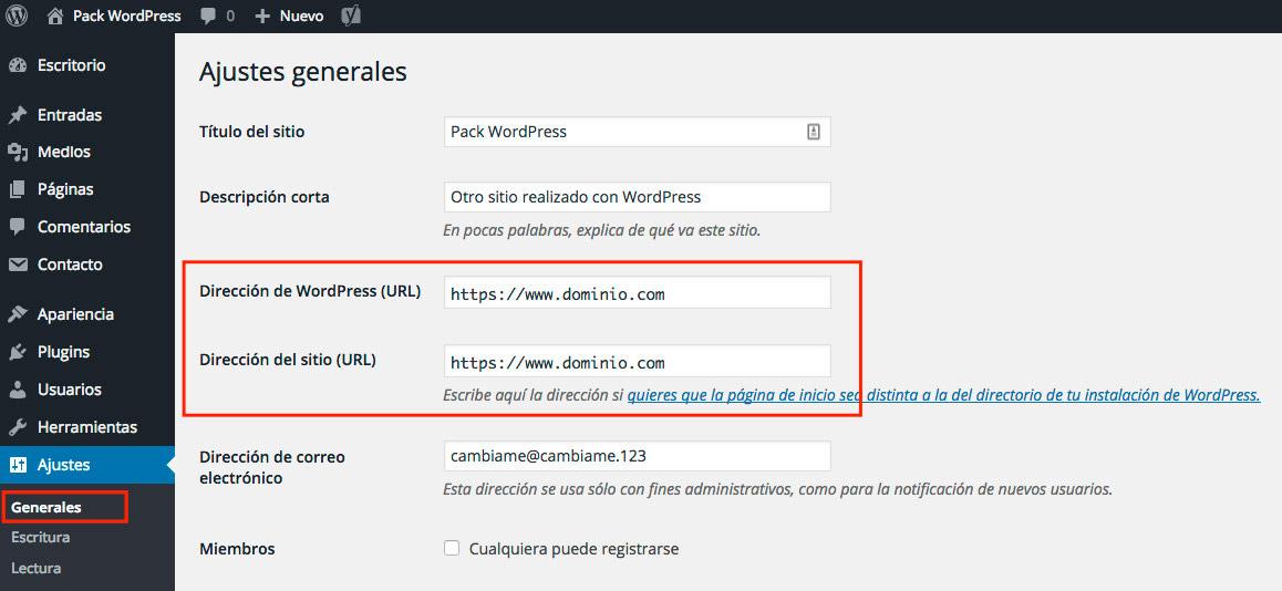 Activar https en WordPress