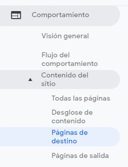paginas destina google analytics