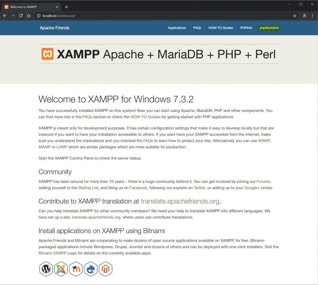 localhost-xampp-phpMyAdmin