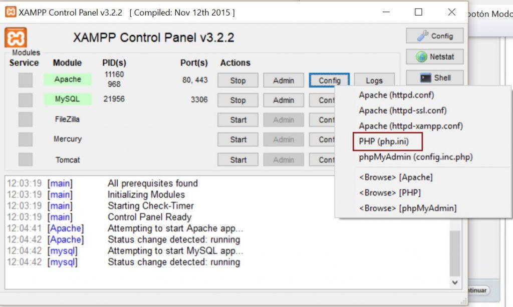 panel-control-xampp-php-ini