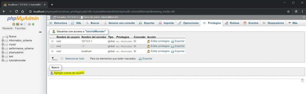 phpMyAdmin crear usuario 1