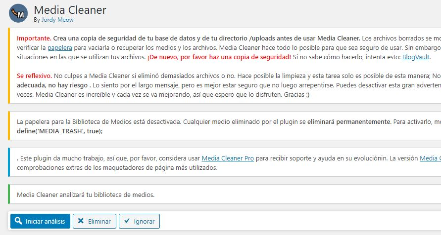 media cleaner iniciar analisis