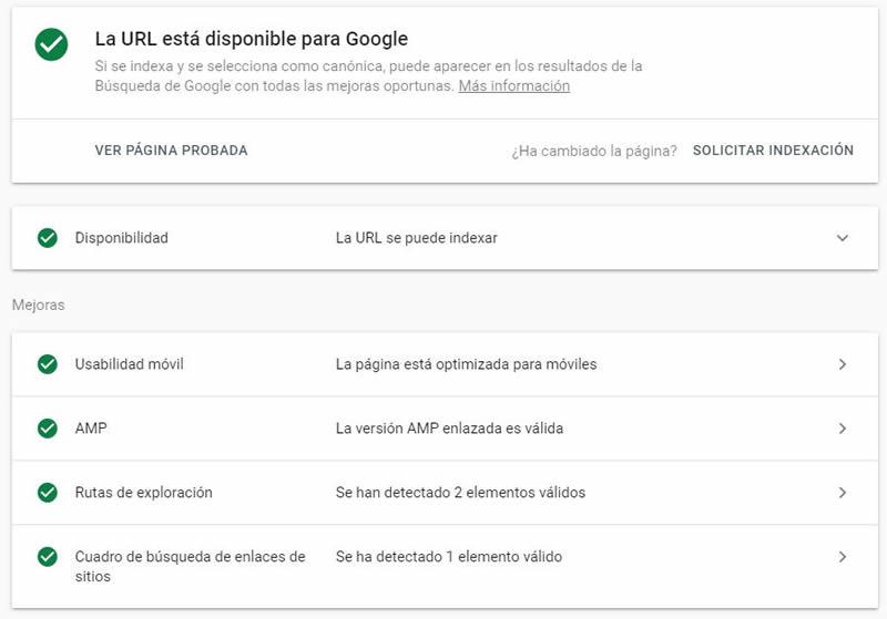 URL indexa por Google correctamente