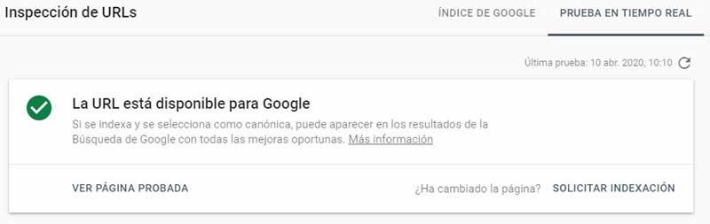 Inspección URL Google Search Console