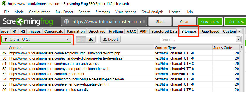 filtro paginas huerfanas screaming frog